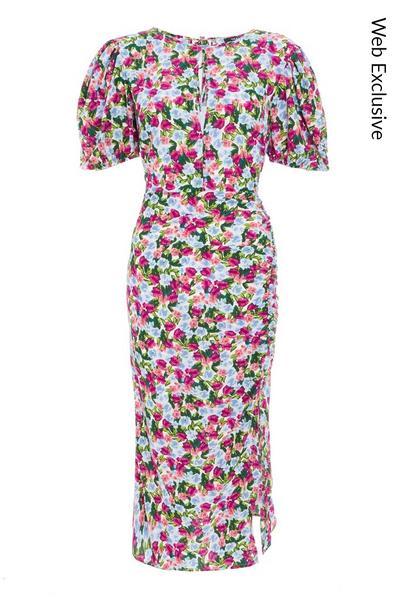 Multicoloured Floral Puff Sleeve Midi Dress